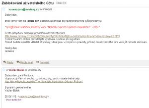 Ban na novinkách - email
